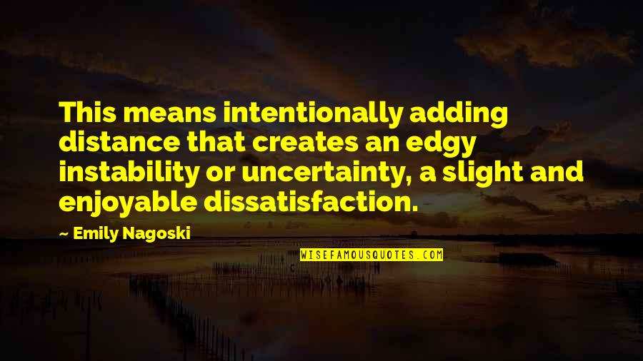 Instability Quotes By Emily Nagoski: This means intentionally adding distance that creates an