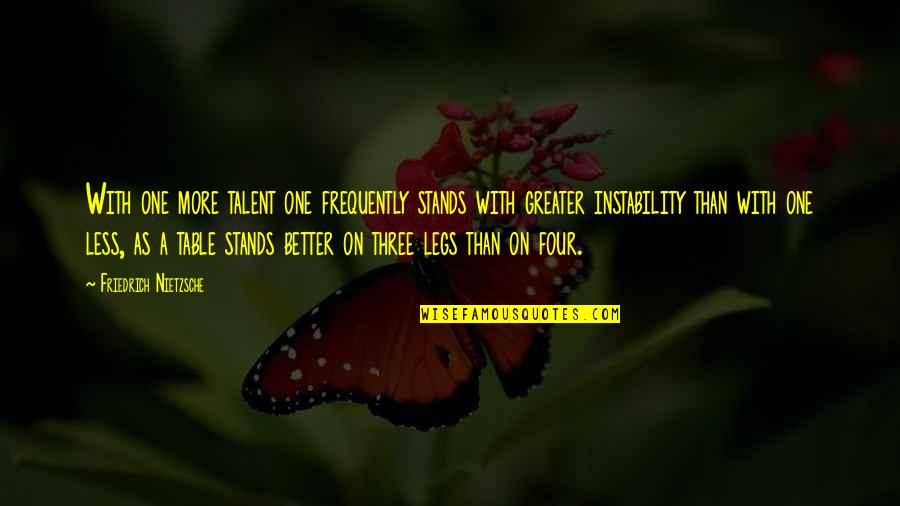 Instability Quotes By Friedrich Nietzsche: With one more talent one frequently stands with
