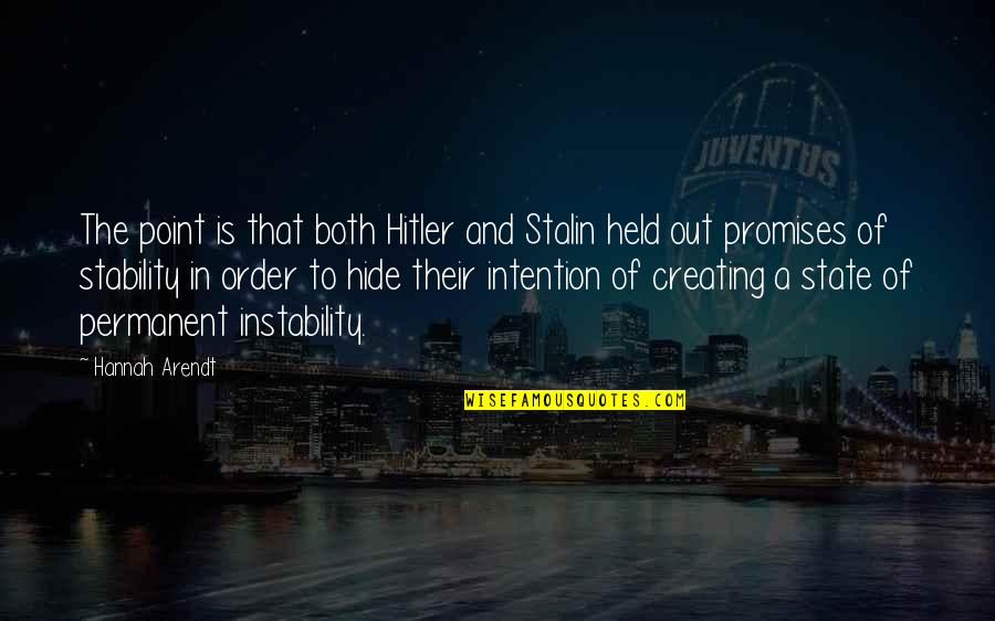 Instability Quotes By Hannah Arendt: The point is that both Hitler and Stalin