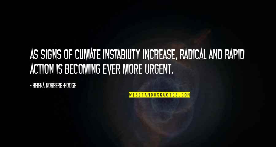 Instability Quotes By Helena Norberg-Hodge: As signs of climate instability increase, radical and