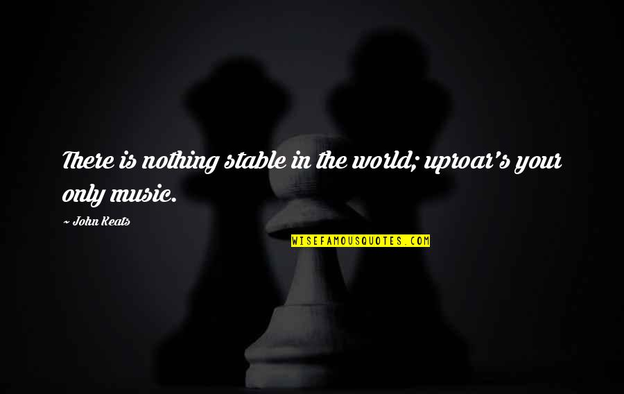 Instability Quotes By John Keats: There is nothing stable in the world; uproar's