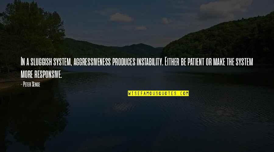 Instability Quotes By Peter Senge: In a sluggish system, aggressiveness produces instability. Either