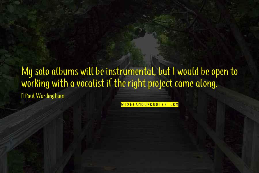 Instrumental Quotes By Paul Wardingham: My solo albums will be instrumental, but I