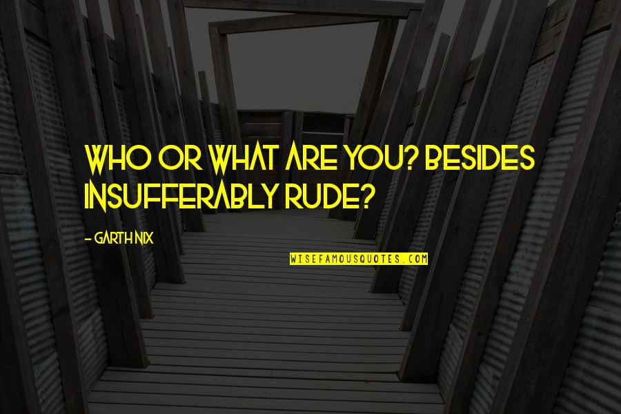 Insufferably Quotes By Garth Nix: Who or what are you? Besides insufferably rude?