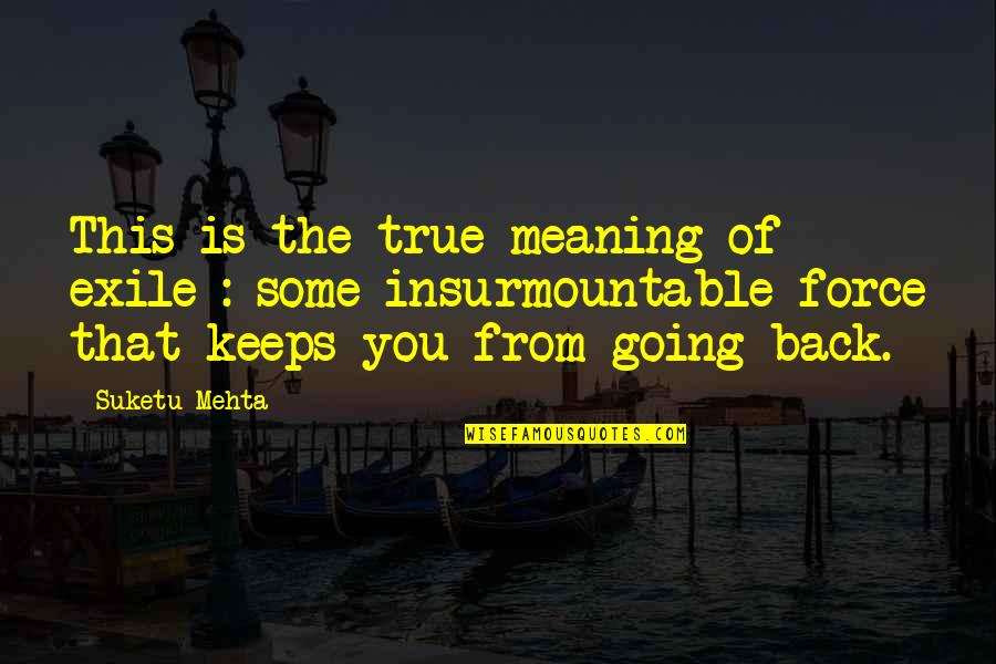 Insurmountable Quotes By Suketu Mehta: This is the true meaning of exile :