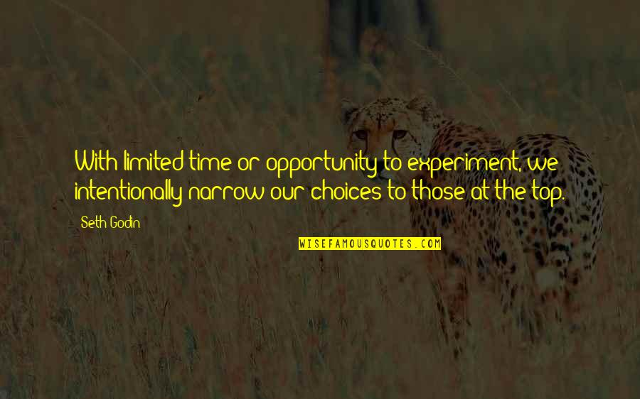 Intentionally Quotes By Seth Godin: With limited time or opportunity to experiment, we