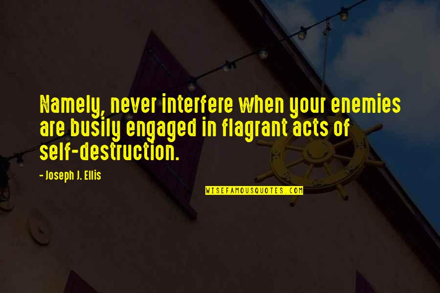 Interfere Quotes By Joseph J. Ellis: Namely, never interfere when your enemies are busily