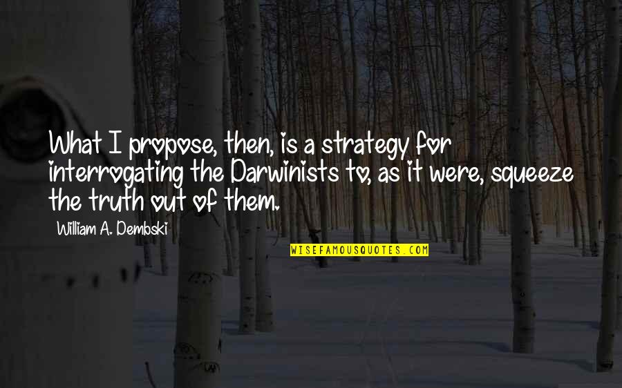 Interrogating Quotes By William A. Dembski: What I propose, then, is a strategy for