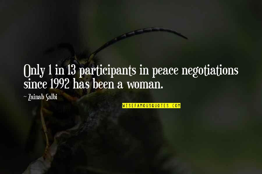 Interstellar Rage Quotes By Zainab Salbi: Only 1 in 13 participants in peace negotiations
