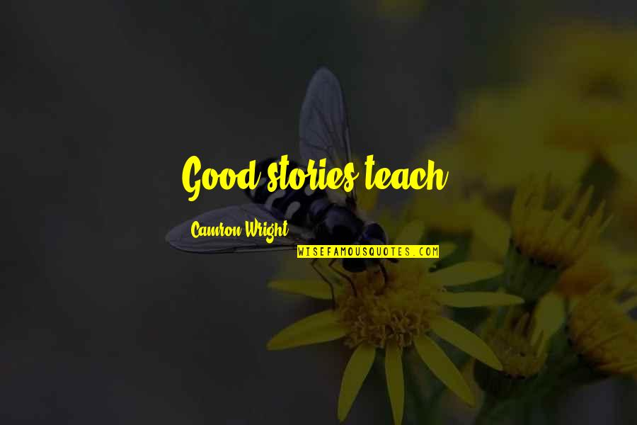Intertwinedness Quotes By Camron Wright: Good stories teach!
