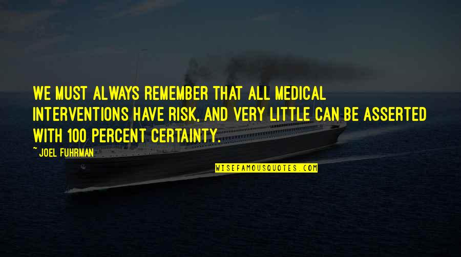 Interventions Quotes By Joel Fuhrman: We must always remember that all medical interventions