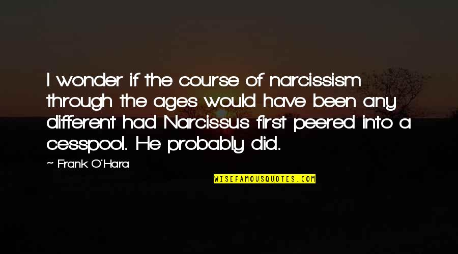 Into The Wonder Quotes By Frank O'Hara: I wonder if the course of narcissism through