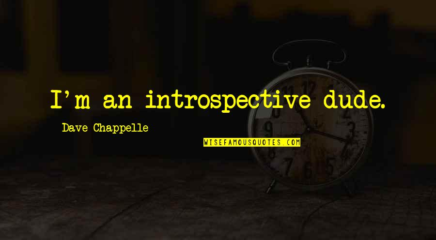 Introspective Quotes By Dave Chappelle: I'm an introspective dude.