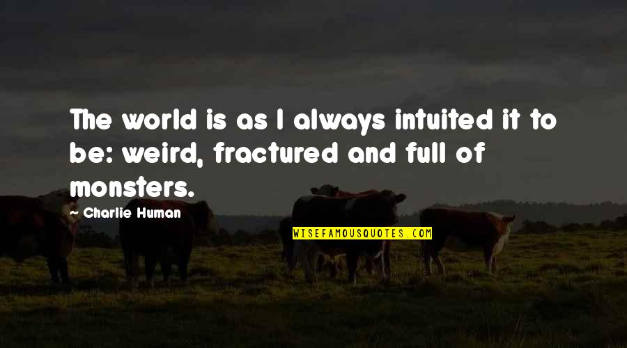 Intuited Quotes By Charlie Human: The world is as I always intuited it