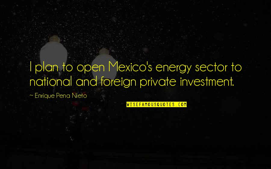 Investment Quotes By Enrique Pena Nieto: I plan to open Mexico's energy sector to