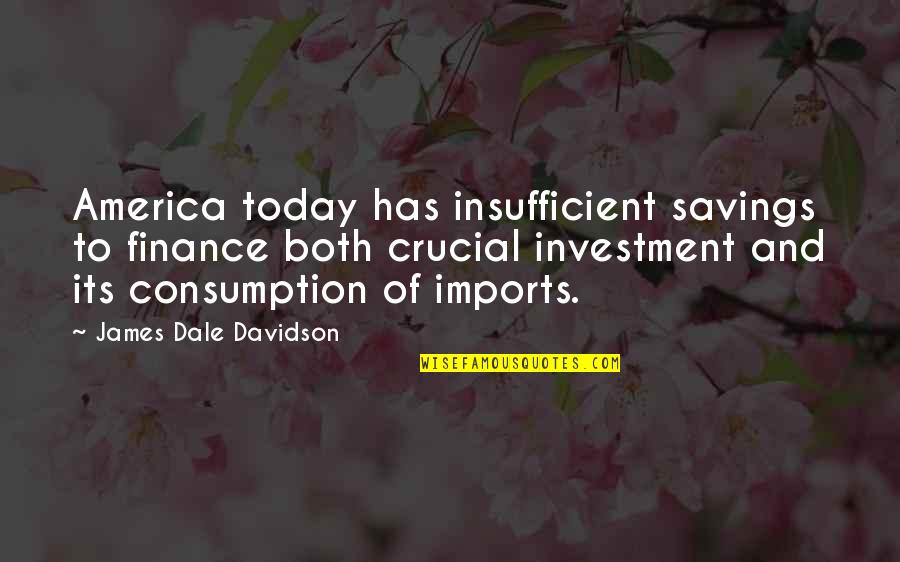 Investment Quotes By James Dale Davidson: America today has insufficient savings to finance both