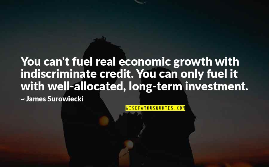 Investment Quotes By James Surowiecki: You can't fuel real economic growth with indiscriminate