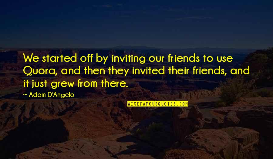 Inviting Friends Quotes By Adam D'Angelo: We started off by inviting our friends to