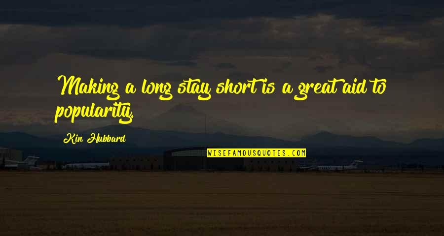 Irish Beer Quotes By Kin Hubbard: Making a long stay short is a great