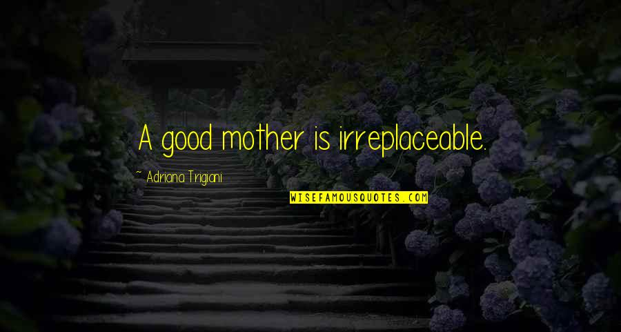 Irreplaceable Quotes By Adriana Trigiani: A good mother is irreplaceable.