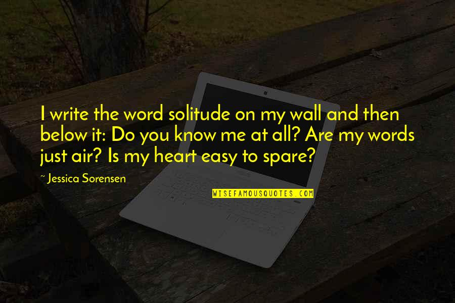 Is Just Me Quotes By Jessica Sorensen: I write the word solitude on my wall