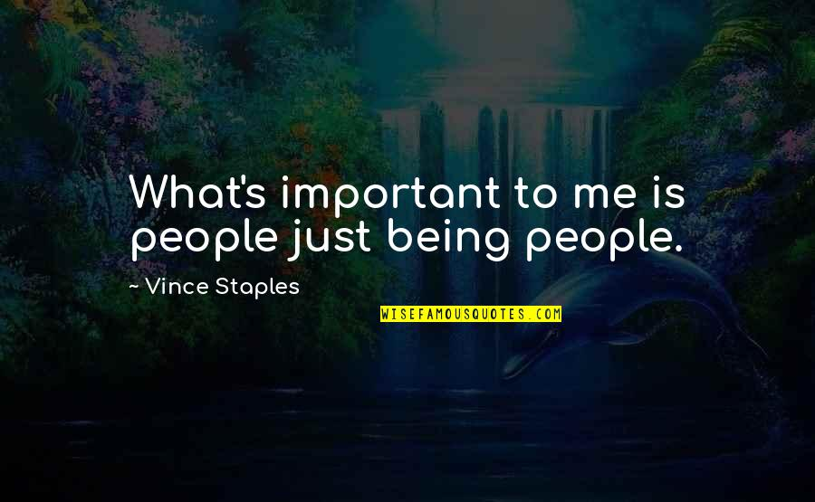 Is Just Me Quotes By Vince Staples: What's important to me is people just being