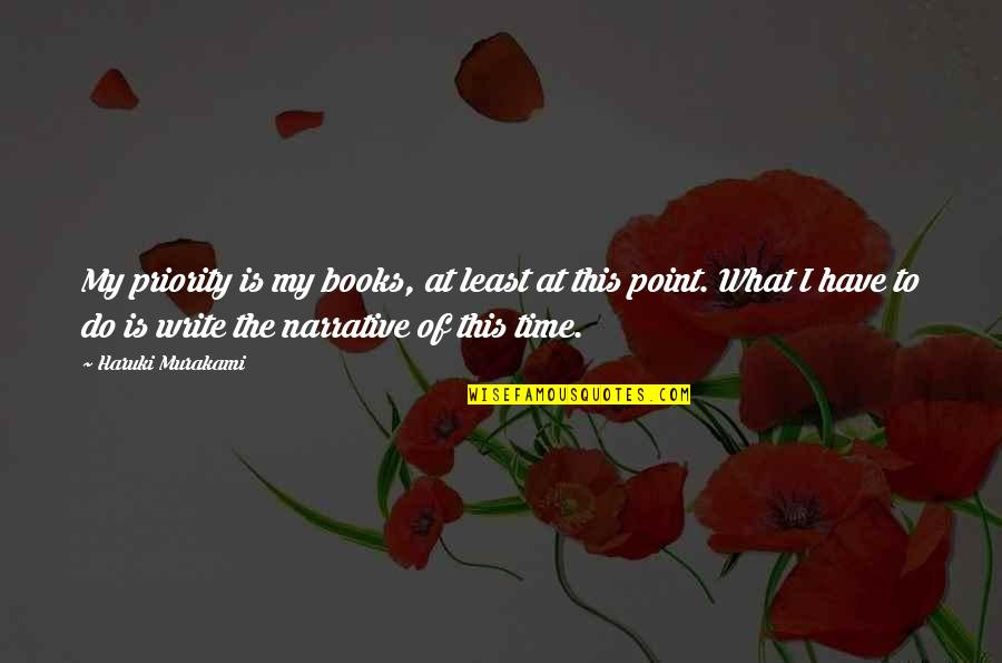 Is My Time Quotes By Haruki Murakami: My priority is my books, at least at
