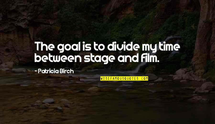 Is My Time Quotes By Patricia Birch: The goal is to divide my time between