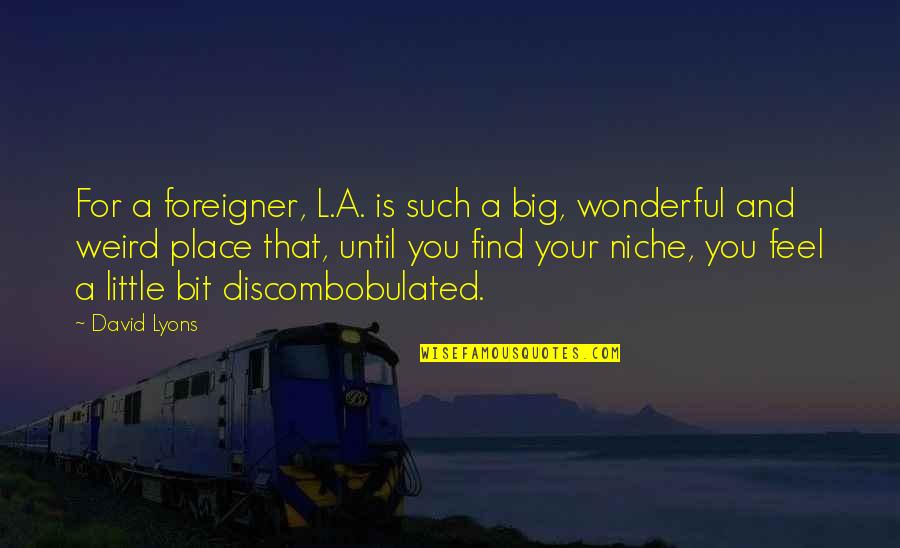 Is That Weird Quotes By David Lyons: For a foreigner, L.A. is such a big,