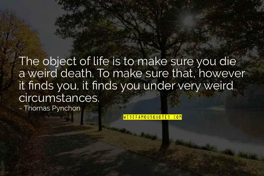 Is That Weird Quotes By Thomas Pynchon: The object of life is to make sure