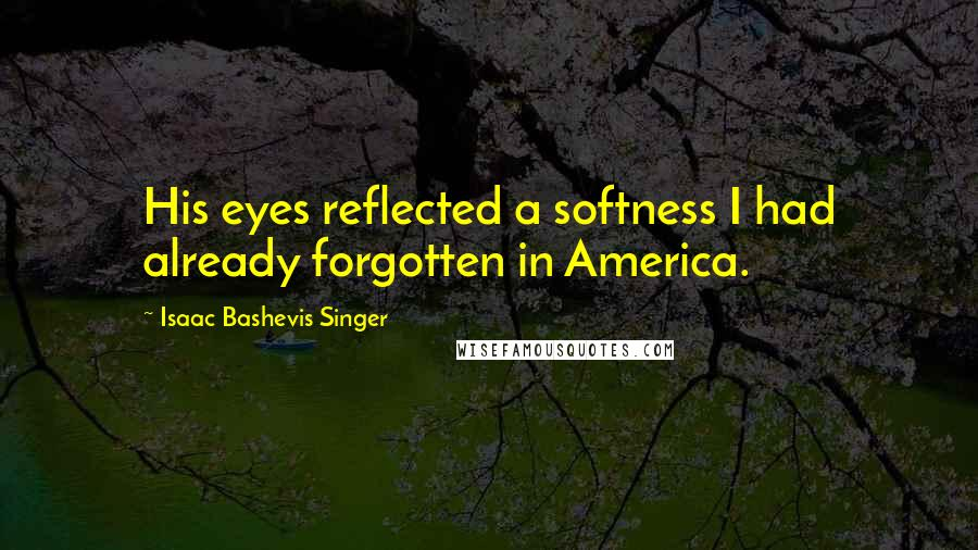 Isaac Bashevis Singer quotes: His eyes reflected a softness I had already forgotten in America.