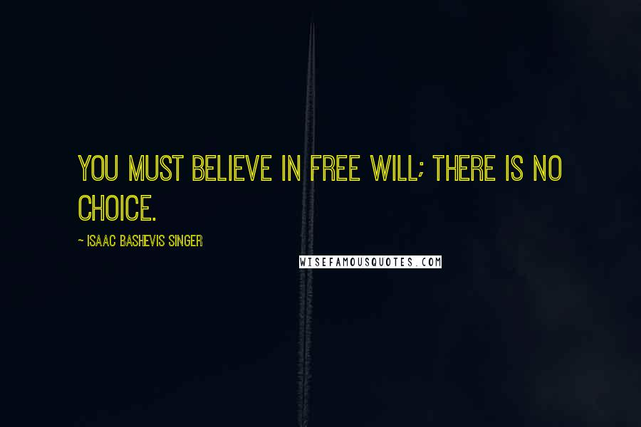 Isaac Bashevis Singer quotes: You must believe in free will; there is no choice.