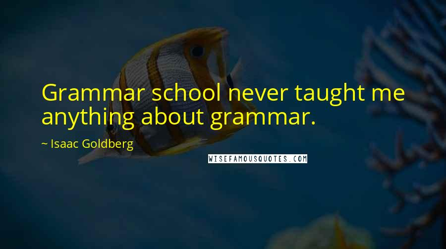 Isaac Goldberg quotes: Grammar school never taught me anything about grammar.