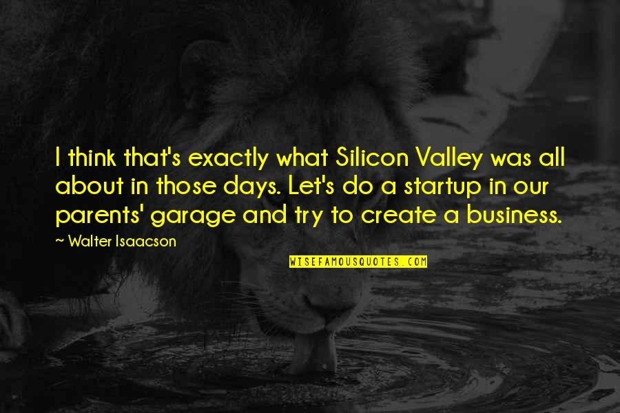 Isaacson Quotes By Walter Isaacson: I think that's exactly what Silicon Valley was