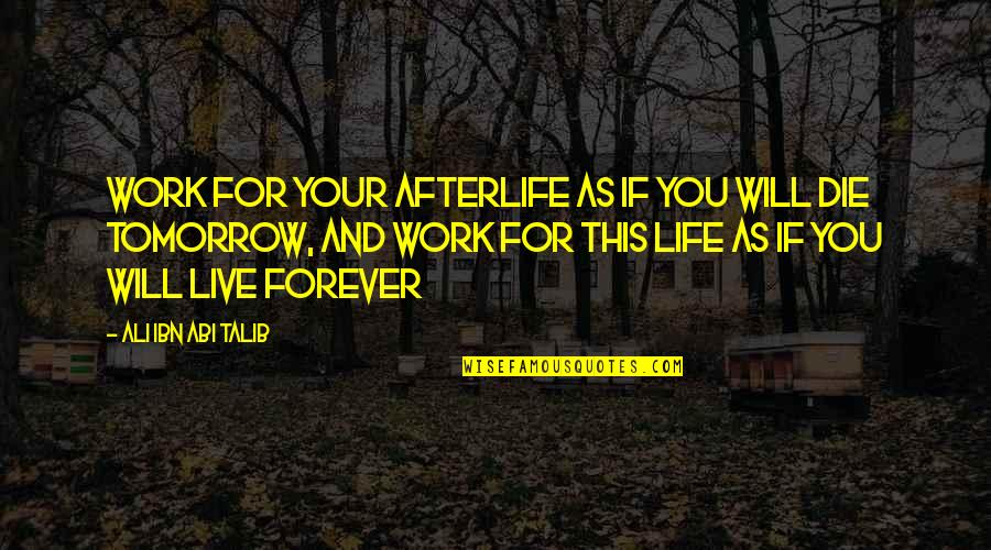 Islamic Quotes And Quotes By Ali Ibn Abi Talib: Work for your afterlife as if you will