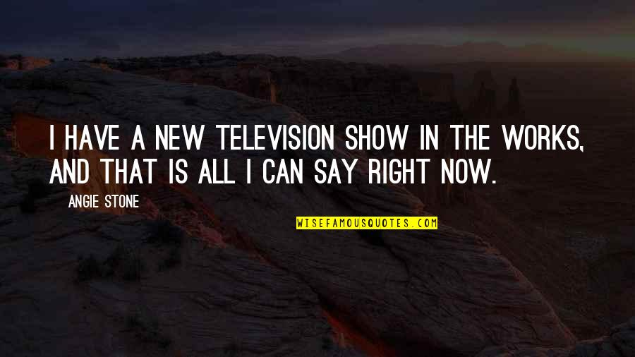 Iso-8859-1 Quotes By Angie Stone: I have a new television show in the