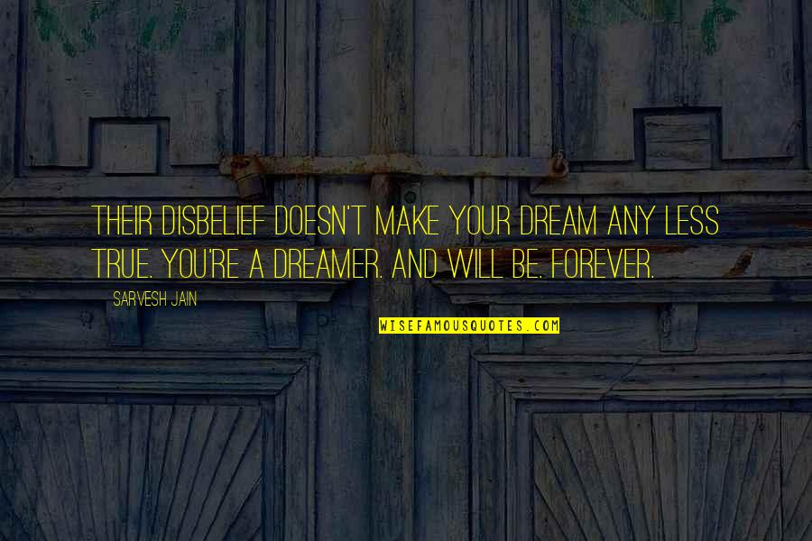 Isolation In Grendel Quotes By Sarvesh Jain: Their disbelief doesn't make your dream any less
