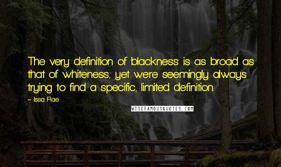 Issa Rae quotes: The very definition of 'blackness' is as broad as that of 'whiteness,' yet we're seemingly always trying to find a specific, limited definition.