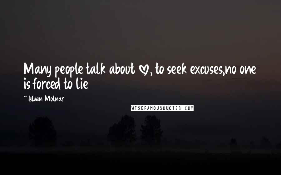 Istvan Molnar quotes: Many people talk about love, to seek excuses,no one is forced to lie
