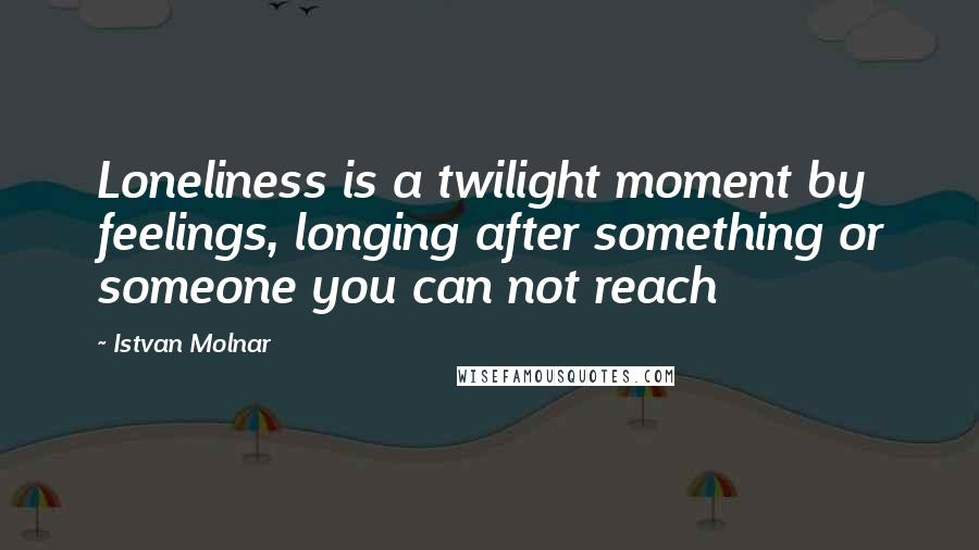 Istvan Molnar quotes: Loneliness is a twilight moment by feelings, longing after something or someone you can not reach