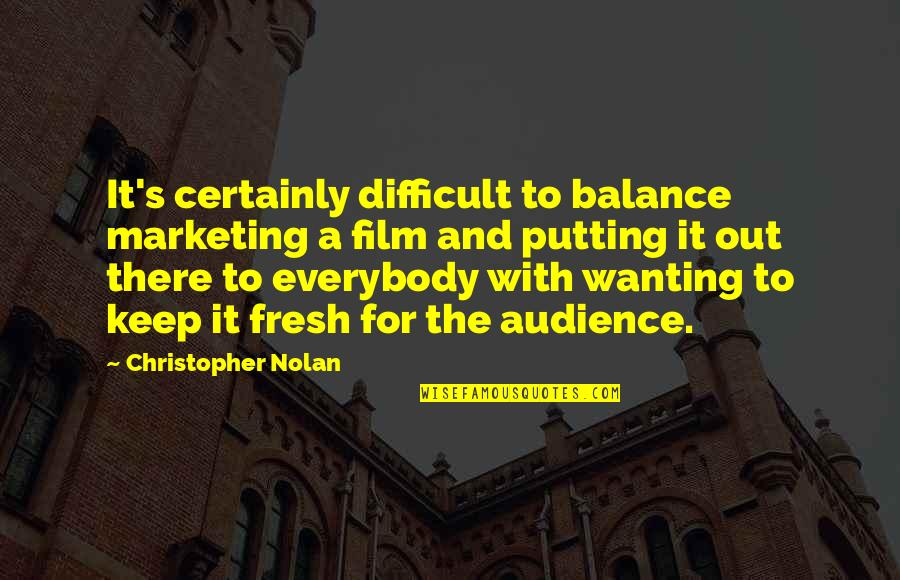 It Film Quotes By Christopher Nolan: It's certainly difficult to balance marketing a film