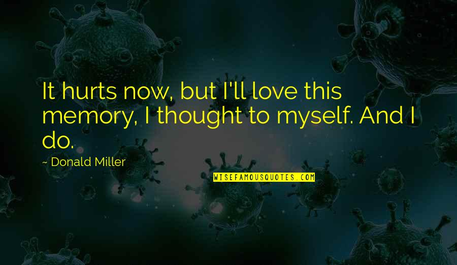 It Hurts But Quotes By Donald Miller: It hurts now, but I'll love this memory,