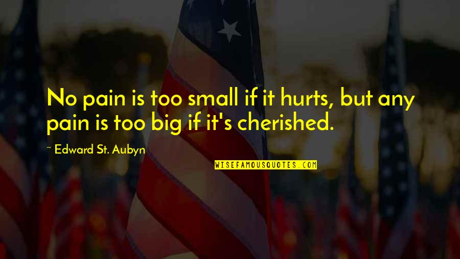 It Hurts But Quotes By Edward St. Aubyn: No pain is too small if it hurts,