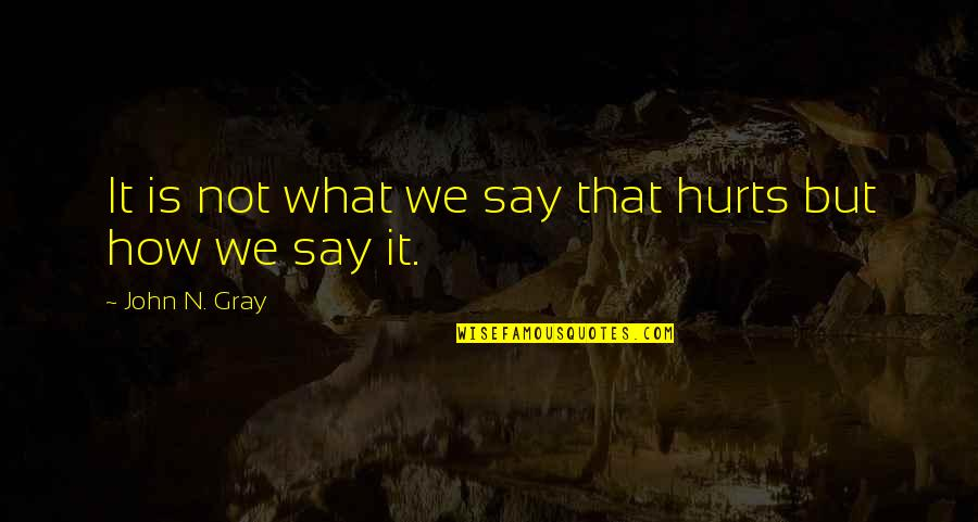 It Hurts But Quotes By John N. Gray: It is not what we say that hurts