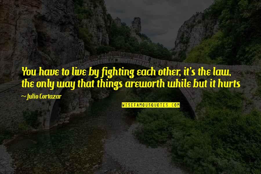 It Hurts But Quotes By Julio Cortazar: You have to live by fighting each other,