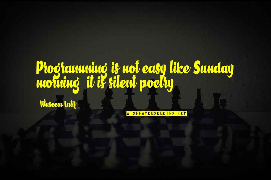 It Is Not Easy Quotes By Waseem Latif: Programming is not easy like Sunday morning, it