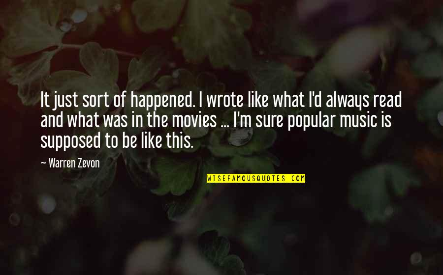 It Just Happened Quotes By Warren Zevon: It just sort of happened. I wrote like