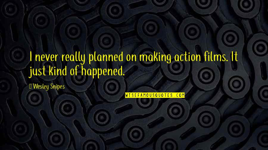 It Just Happened Quotes By Wesley Snipes: I never really planned on making action films.