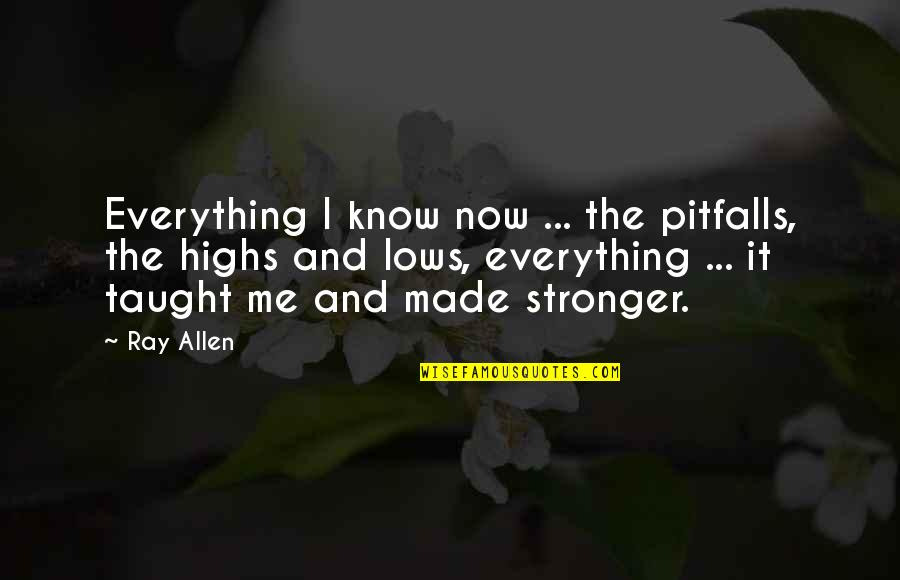 It Just Made Me Stronger Quotes By Ray Allen: Everything I know now ... the pitfalls, the