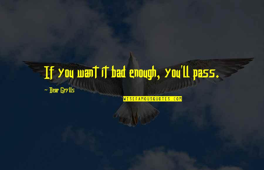 It Ll Pass Quotes By Bear Grylls: If you want it bad enough, you'll pass.